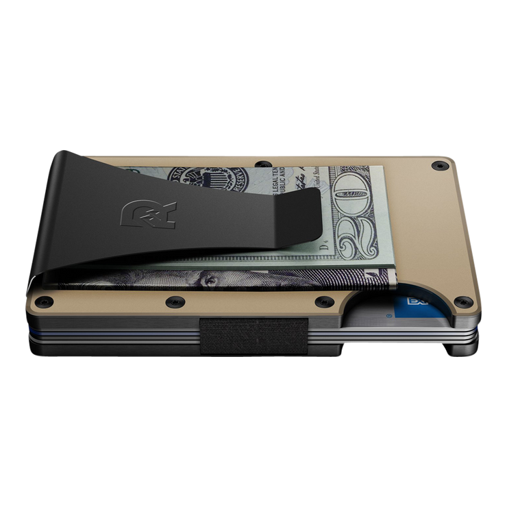 The Ridge Aluminium Money Clip Wallet (Desert Tan) - Side View