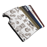 The Ridge Aluminium Money Clip Wallet (Tiki) - Cards Fanned