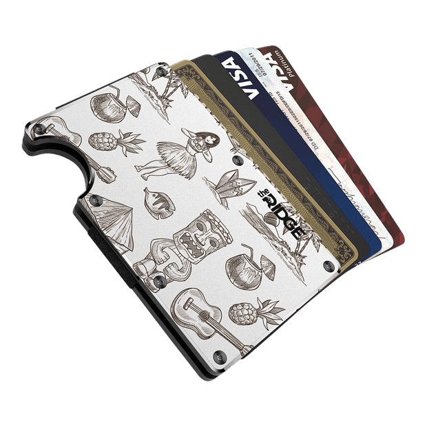 The Ridge Aluminium Cash Strap Wallet (Tiki) - Cards Fanned