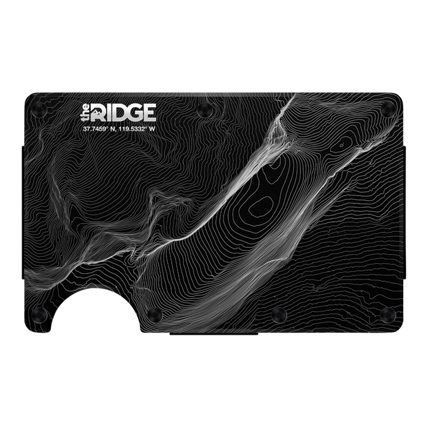 The Ridge Aluminium Cash Strap & Money Clip Wallet (Topographic) - Front View