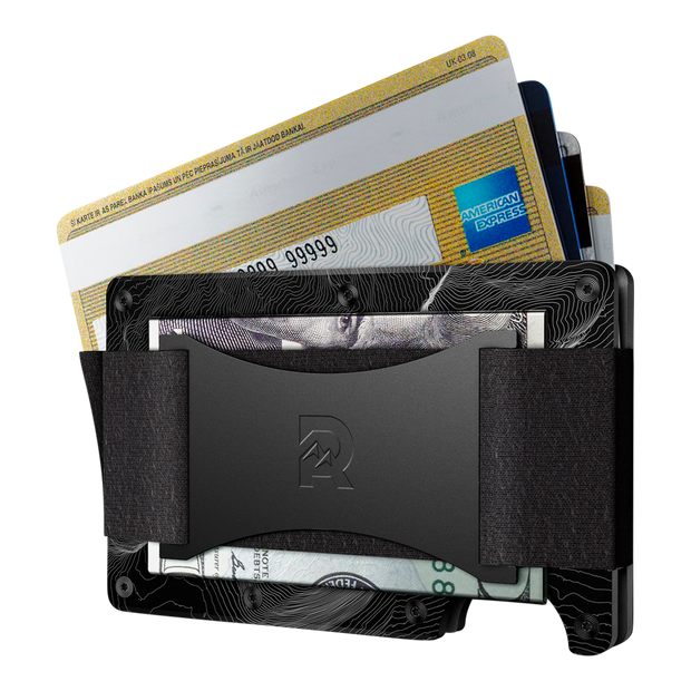 The Ridge Aluminium Cash Strap & Money Clip Wallet (Topographic) - Cash Strap