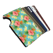The Ridge Aluminium Cash Strap Wallet (Tropical) - Cards Fanned