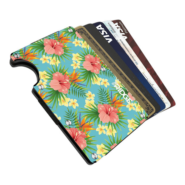 The Ridge Aluminium Money Clip Wallet (Tropical) - Cards Fanned