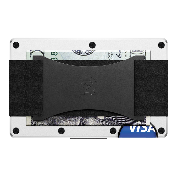 The Ridge Aluminium Cash Strap Wallet (White) - Back View