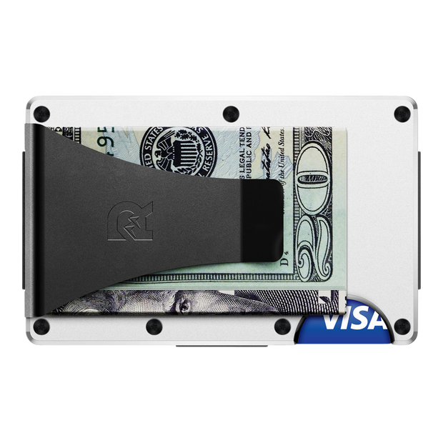 The Ridge Aluminium Money Clip Wallet (White) - Back View