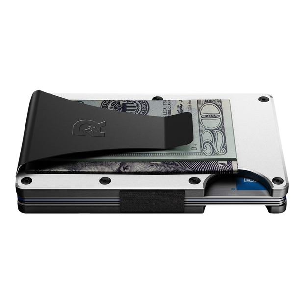 The Ridge Aluminium Money Clip Wallet (White) - Side View