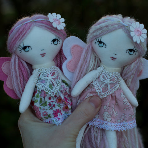 handmade cloth doll Valentines love bugs