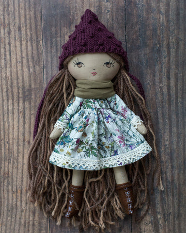 handmade cloth doll in liberty dress