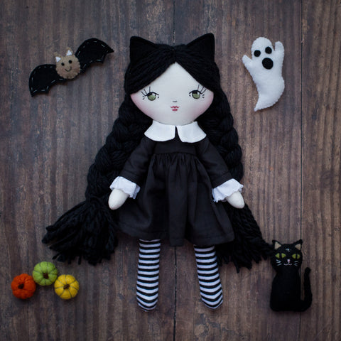 handmade halloween black cat doll