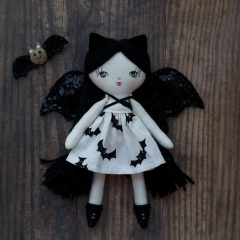 handmade halloween bat doll
