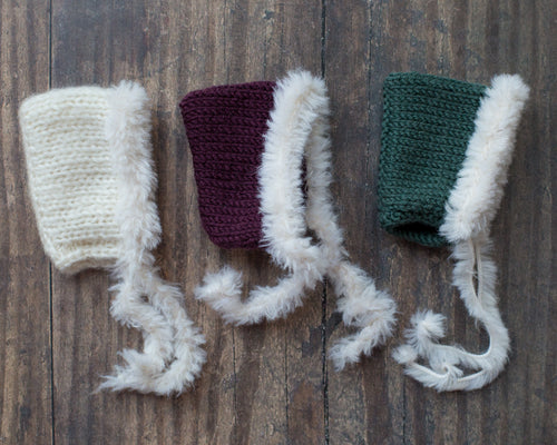 Fur lined knitted pixie hats (6.5