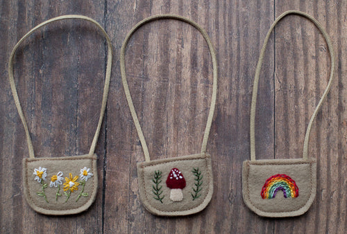 Embroidered bags - mushroom, daisy and rainbow (10