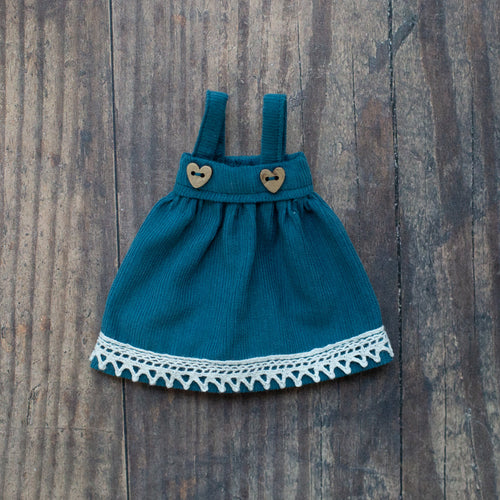 Corduroy pinafore - teal (10