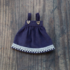 "Corduroy pinafore - purple (10"" & 14"" dolls)"