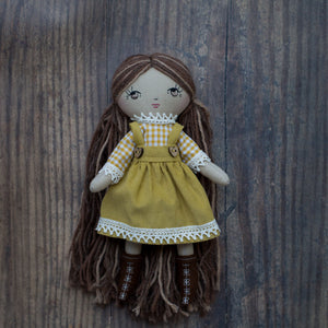 "Gingham blouse - mustard (10"" & 14"" dolls)"