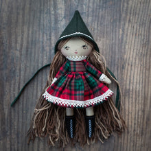 "Load image into Gallery viewer, Sparkly tartan Christmas dress (10"" & 14"" dolls)"