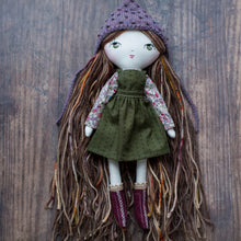 "Load image into Gallery viewer, Green pinafore (10"" & 14"" dolls)"