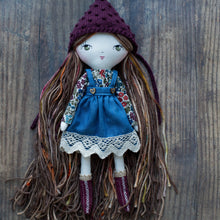 "Load image into Gallery viewer, Lace denim pinafore (10"" & 14"" dolls)"