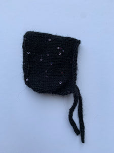 Pixie hat - black sequin 10'