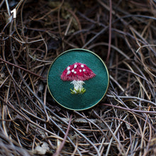 Load image into Gallery viewer, Embroidered mushroom brooch