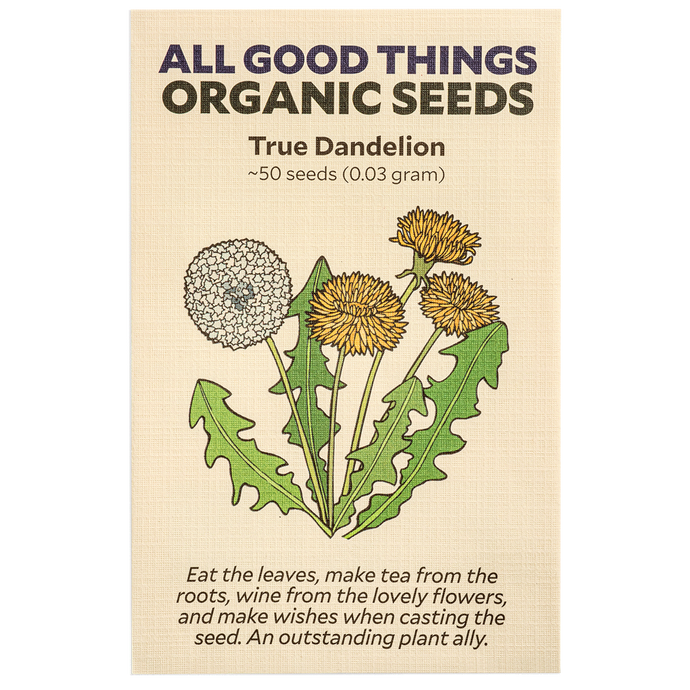 All Good Things Organic Seeds True Dandelion