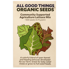 Load image into Gallery viewer, All Good Things Organic Seeds Community Supported Agriculture Lettuce Mix