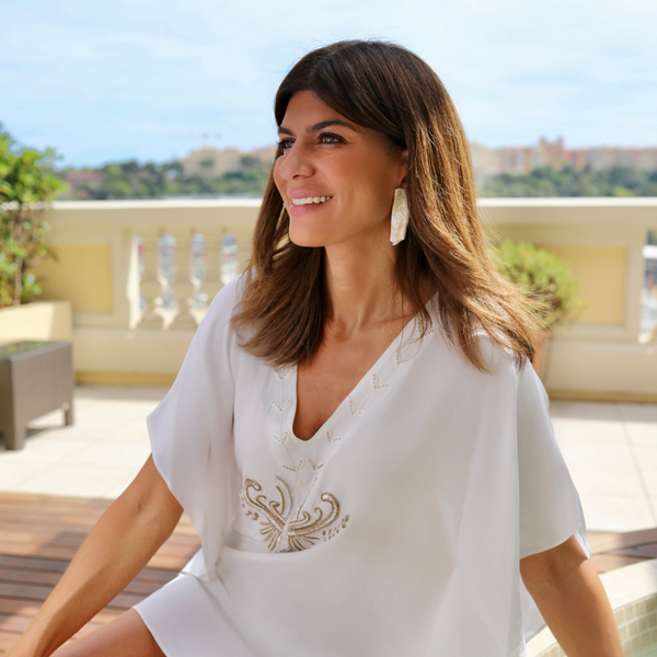 white silk kaftan