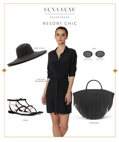 black shirt dress silk classic timeless
