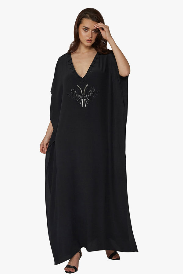 Luxurious Designer Silk Kaftan Caftan Dress Long black petite sizing with hand embroidered details perfect resort wear and evening wear