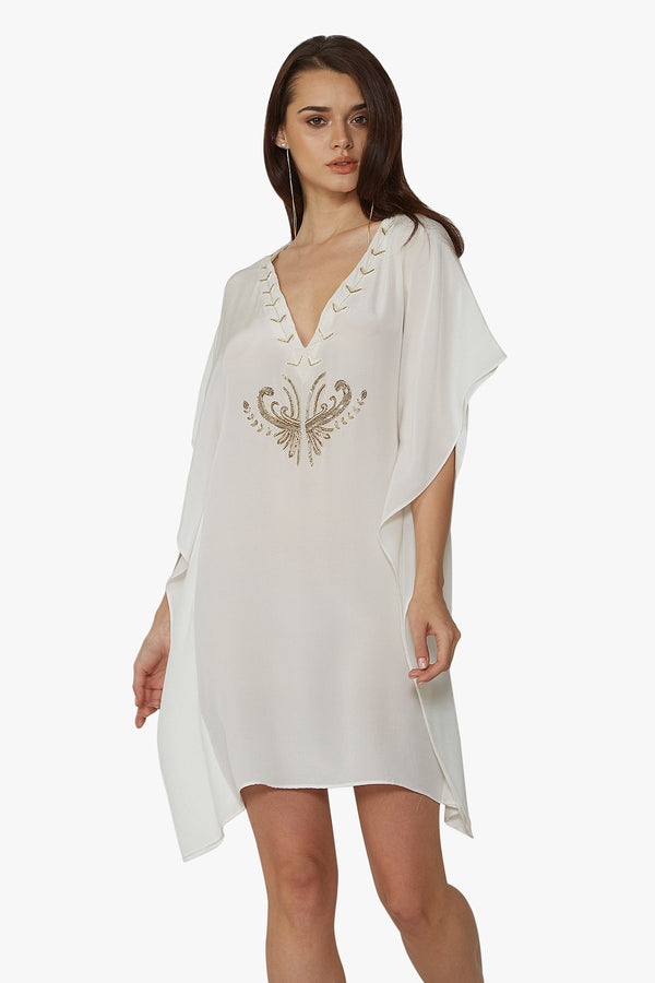 Luxurious Designer Silk Kaftan Caftan Dress short white ivory petite sizing with hand embroidered details perfect resort wear for honeymoon bespoke design