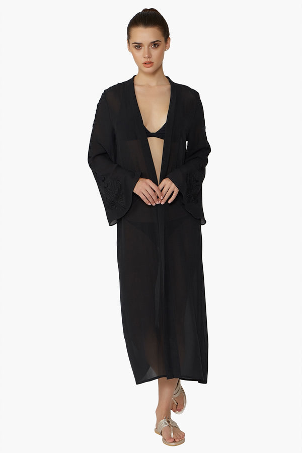 Luxurious Designer Silk Georgette Black Kimono Cape Duster Cover Up with hand embroidered details perfect for luxury resort wear and beach club