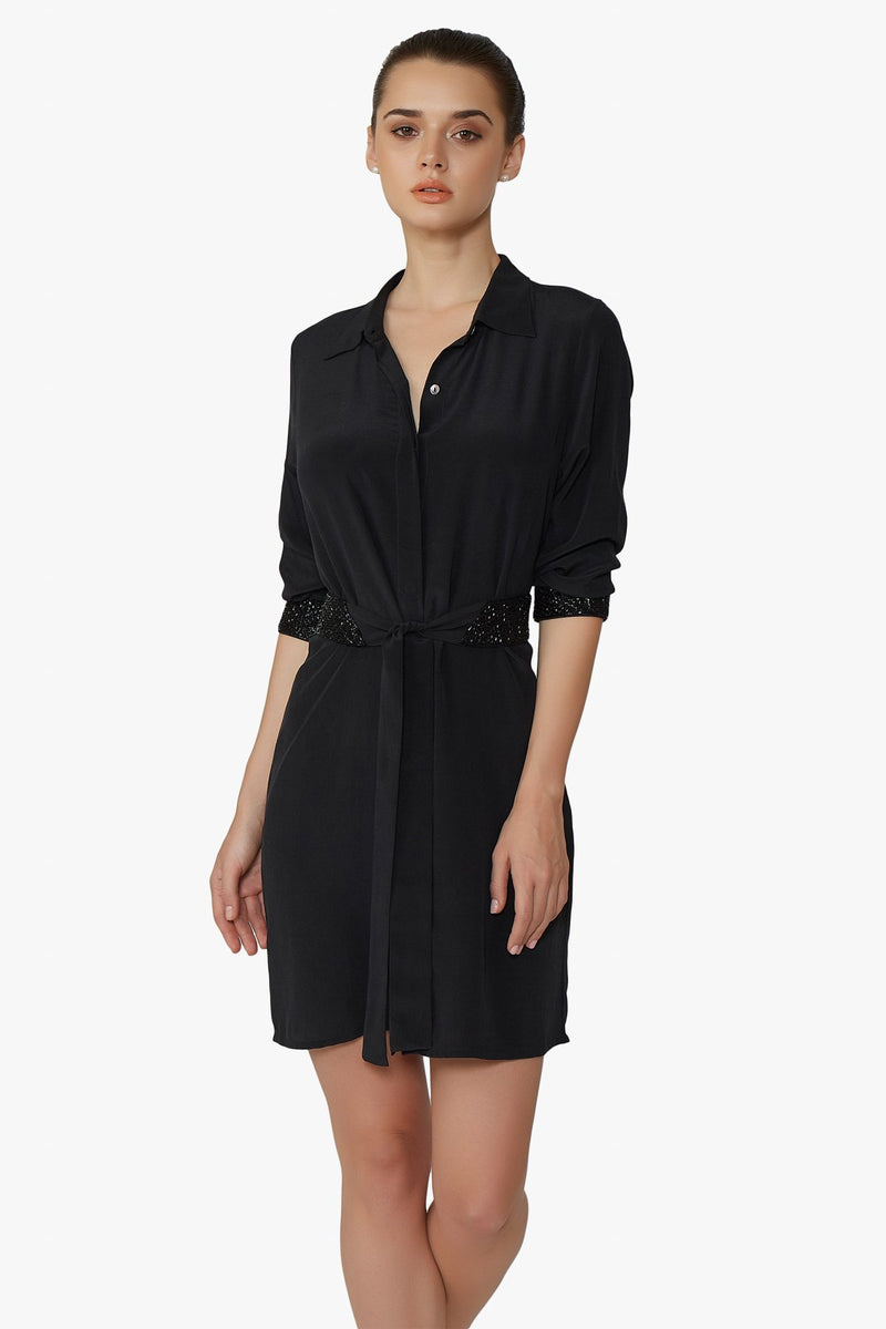 luxury designer Classic silk shirt dress black with hand embroidered cuff detail