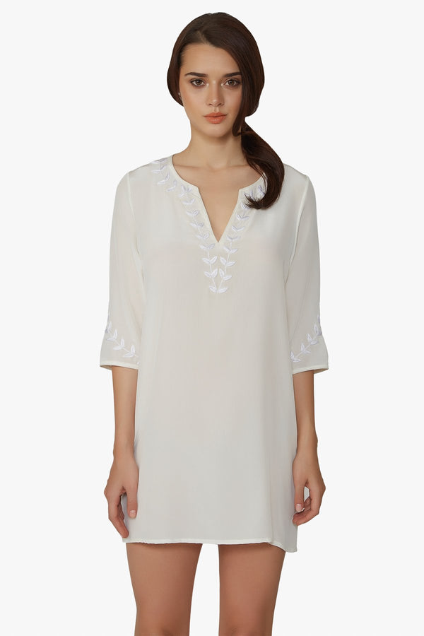 White silk tunic dress the perfect luxury designer resort wear