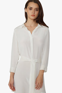 Luxurious Designer Silk Shirt Dress white ivory Short petite sizing sophisticated and elegant