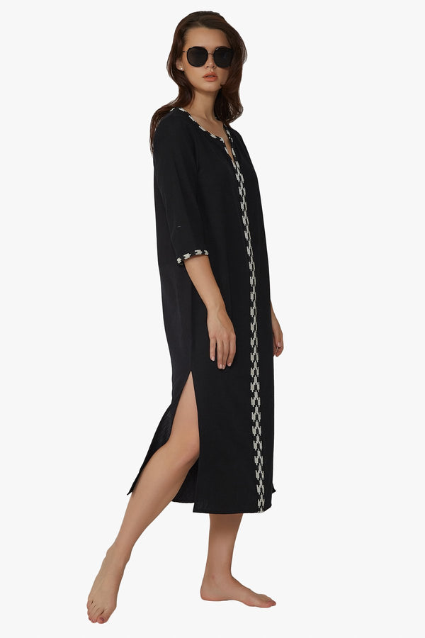 Designer Hand Beaded Monochrome black and white Cotton Tunic Dress midi perfect for resort wear fashion style