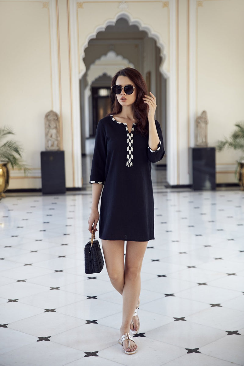 Designer Hand Beaded Monochrome black and white Cotton Tunic Dress perfect for resort wear fashion style