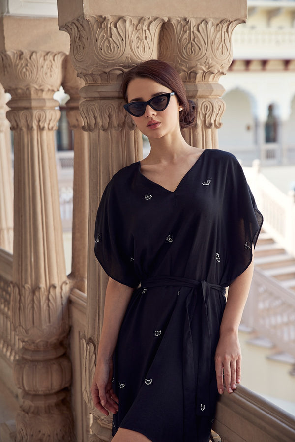 Designer Hand Beaded Silk Cotton Kaftan Caftan Dress perfect for summer and resort wear bespoke fashion style