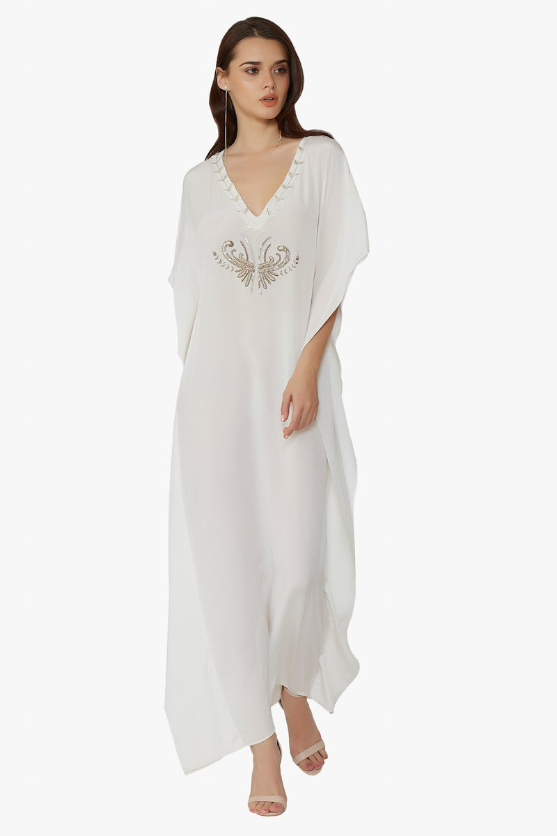 Luxurious Designer Silk Kaftan Caftan Dress Long white ivory petite sizing with hand embroidered details perfect resort wear and holiday must have