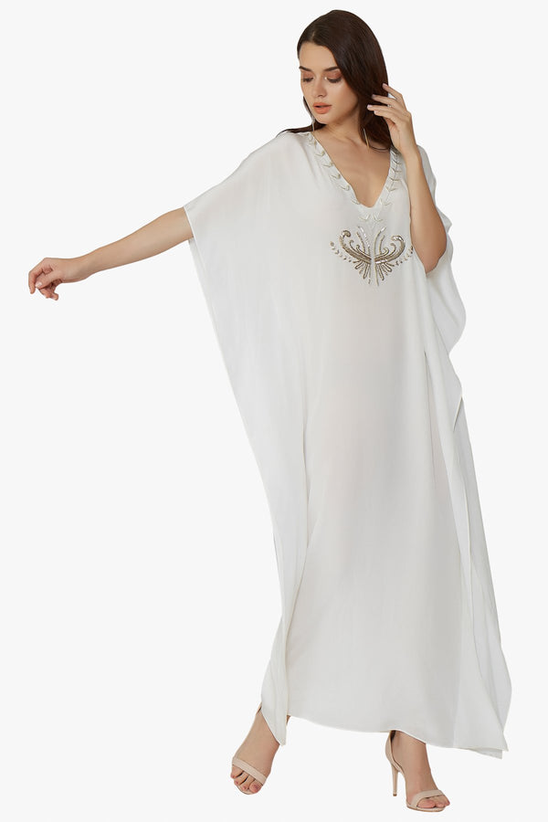 Luxurious Designer Silk Kaftan Caftan Dress Long white ivory petite sizing with hand embroidered details perfect resort wear and exclusive design