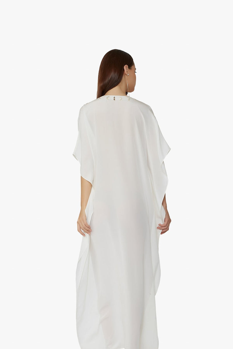 Luxurious Designer Silk Kaftan Caftan Dress Long white ivory petite sizing with hand embroidered details perfect resort wear  bespoke design