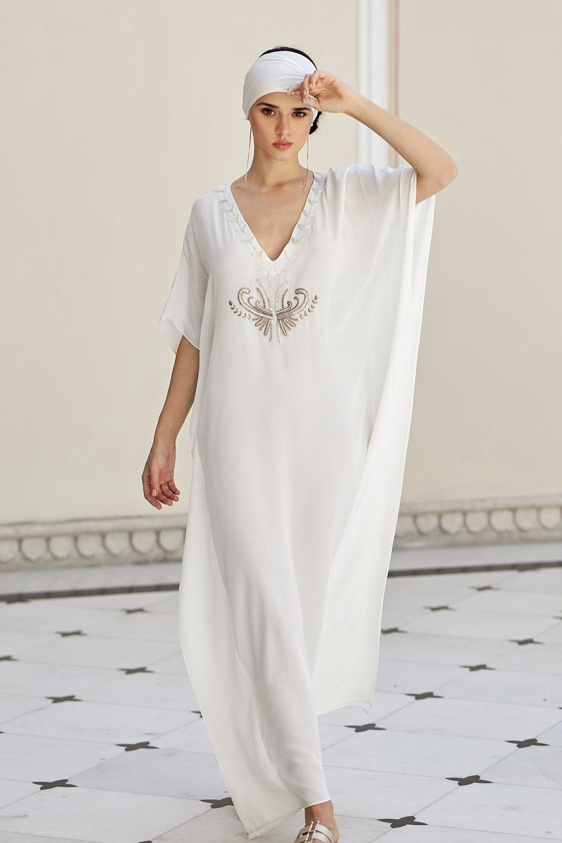 Luxurious Designer Silk Kaftan Caftan Dress Long white ivory petite sizing with hand embroidered details perfect resort wear  limited edition design