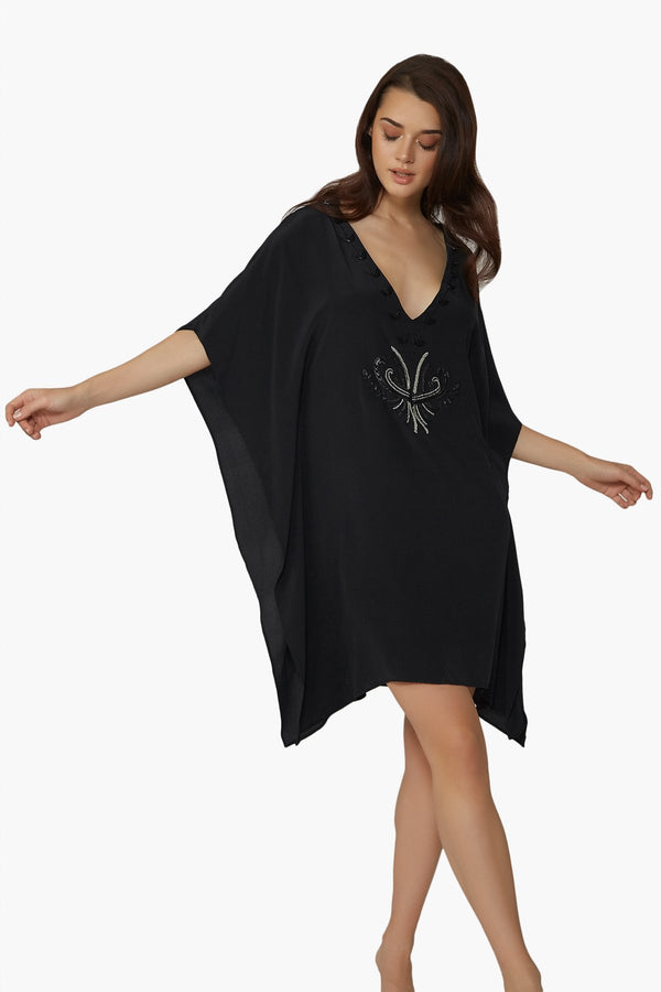 Luxurious Designer Silk Kaftan Caftan Dress Short black petite sizing with hand embroidered details perfect resort wear and evening wear unique and one of a kind