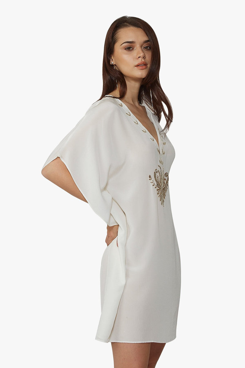 Luxurious Designer Silk Kaftan Caftan Dress short white ivory petite sizing with hand embroidered details perfect resort wear  for honeymoon  limited edition design