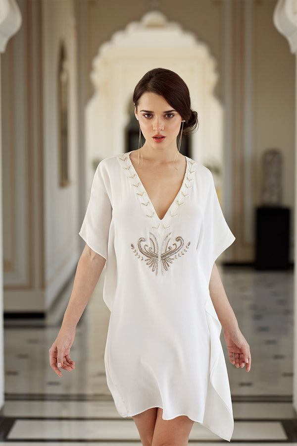 Luxurious Designer Silk Kaftan Caftan Dress short white ivory petite sizing with hand embroidered details perfect resort wear for honeymoon or cocktail dress
