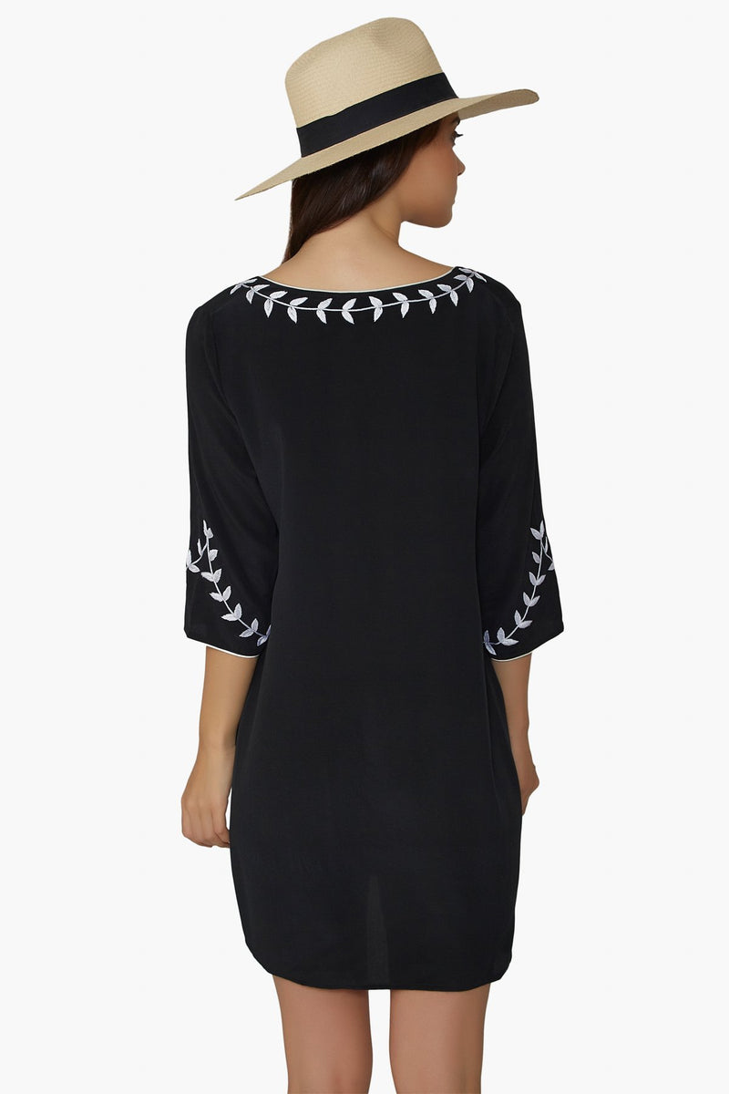Black silk tunic dress the perfect luxury designer resort wear