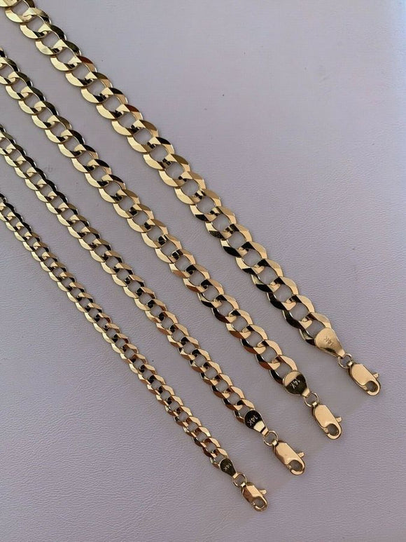 Real Solid 14k Yellow Gold Flat Cuban Link Bracelet - 8.5