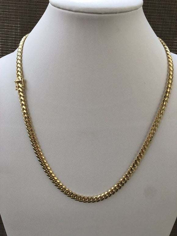 10kt 8mm Solid Miami Cuban Link Gold Chain 26