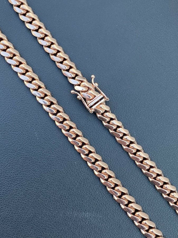 6mm Solid 14k Rose Gold Miami Cuban Link Chain 69g Italy 24
