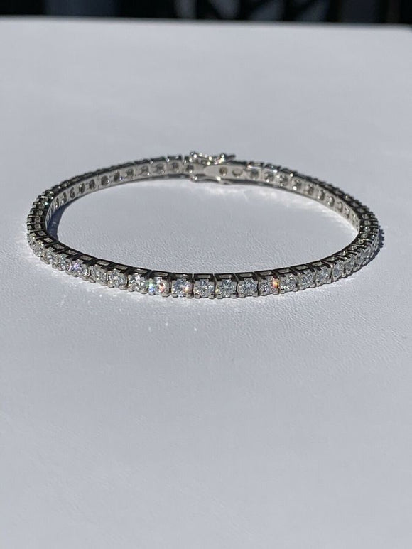 3mm Solid 18k White Gold 5.5ct VS Diamond Tennis Bracelet