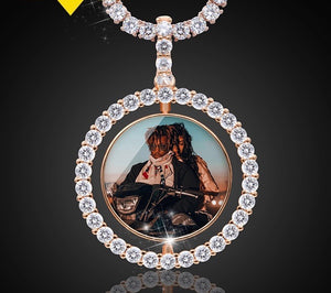 Custom Rotating Double-sided Picture Pendant